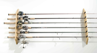 Organized Fishing Lacquered Pine Horizontal Wall Rack - 6 Rods