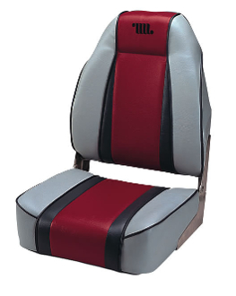 Wise Designer High Back Boat Seat (Grey/Red/Charcoal)