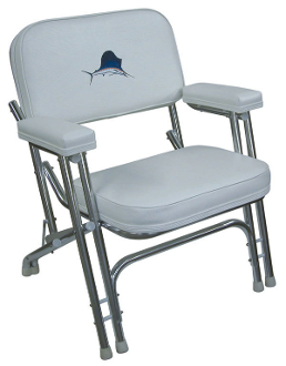 Wise Deluxe Folding Deck Chair With Embroidered Marlin